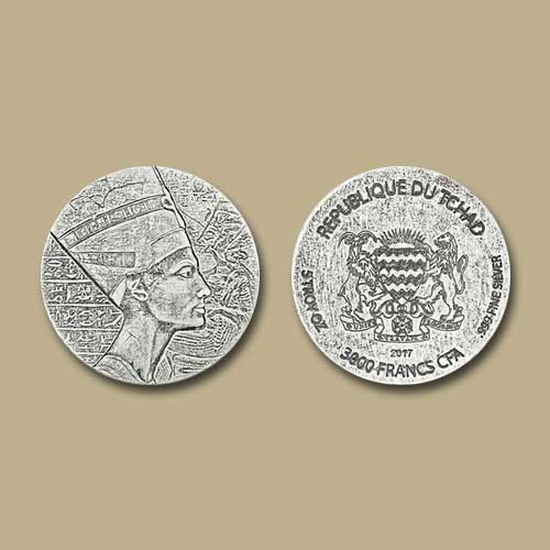 Queen-Nefertiti-Celebrated-on-Republic-of-Chad-Coin