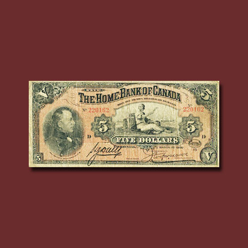 Rare-Example-of-1920-Home-Bank-of-Canada-$5-Graded