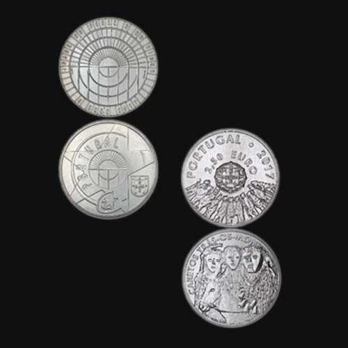 Portugal-Issues-Iron-&-Glass,-Caretos-Commemorative-Silver-Coins