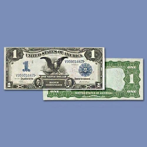 """Highest-Graded-1899-$1-Fr.-229-""""Black-Eagle""""-Note"""