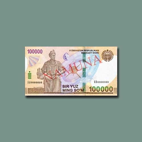 Uzbekistan-Releases-100,000-som-Banknote