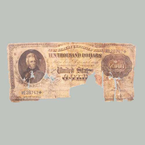 A-Rare-Survivor-of-1935-fire:-Series-1900-$10,000-Gold-Certificate