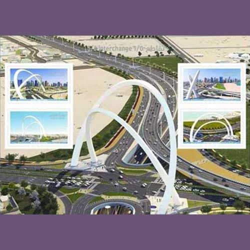 '5/6-Interchange'-Celebrated-on-Latest-Stamps-from-Qatar