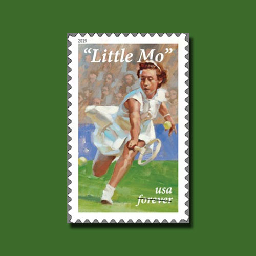 """Postage-Stamp-to-Honour-""""Little-Mo"""",-the-Tennis-Star"""