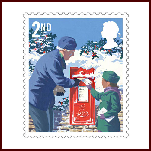 Red-Postboxes-on-Christmas-Stamps-from-Royal-Mail