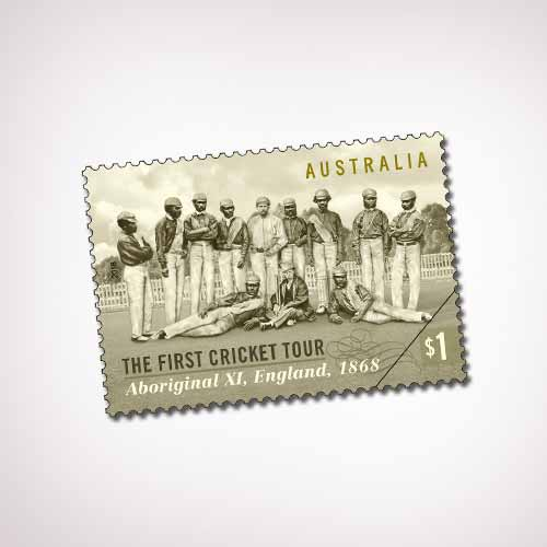Australia's-1868-Aboriginal-Cricket-team-on-Postage-Stamps