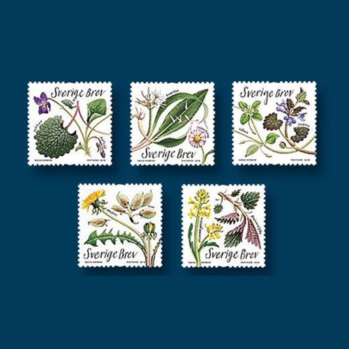 Edible-Flowers-and-Plants-on-Stamps-from-Sweden