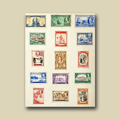 Small-Paintings-of-Postage-Stamp-Designs-up-for-Auction