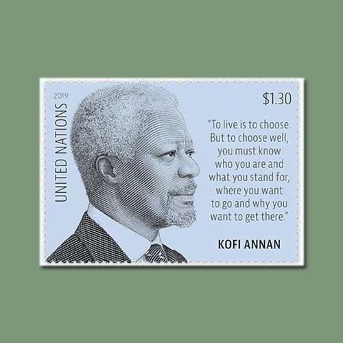 Kofi-Annan-Honoured-on-Latest-U.N.-Definitive-Stamp