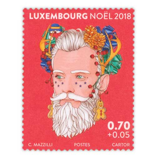 Luxembourg-Christmas-Stamps-Printed-on-Transparent-Foil