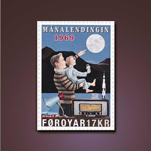 Faroe-Island-Stamps-Celebrate-50th-Anniversary-of-Moon-Landing