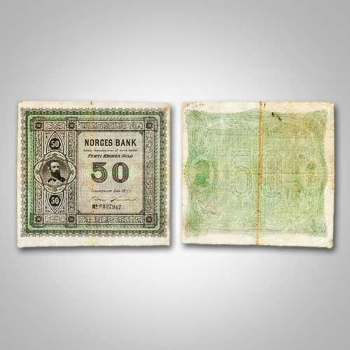 Rare-Norwegian-50-krone-Note-Issued-Between-1877-and-1891,-to-be-Auctioned