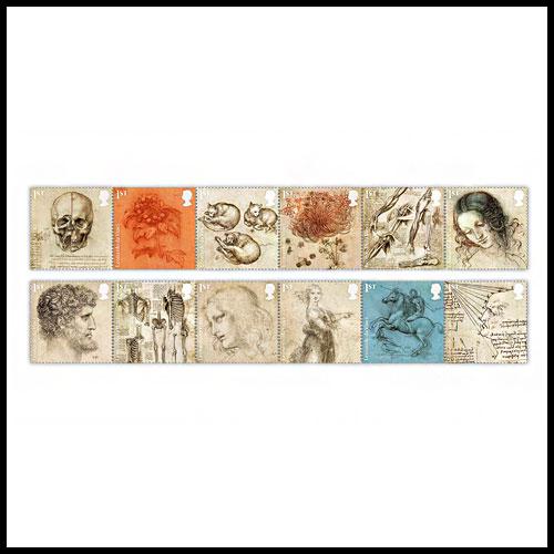 Leonardo-da-Vinci-Drawings-on-Royal-Mail-Stamps