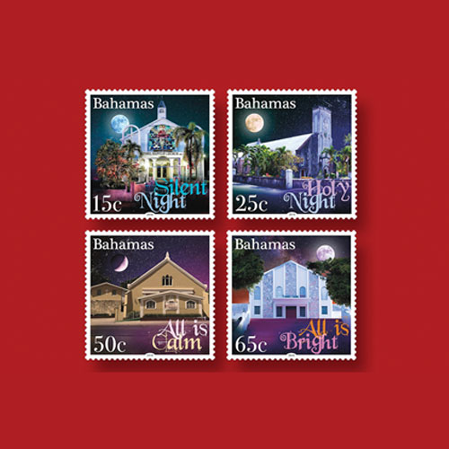 Set-of-4-Bahamas-Stamps-Dedicated-to-the-Christmas-Carol,-Silent-Night