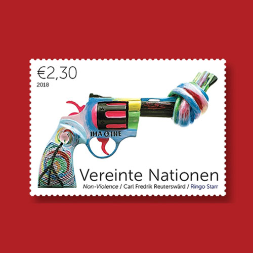 Knotted-Gun-Sculpture-Featured-on-Latest-Stamps-from-UNPA