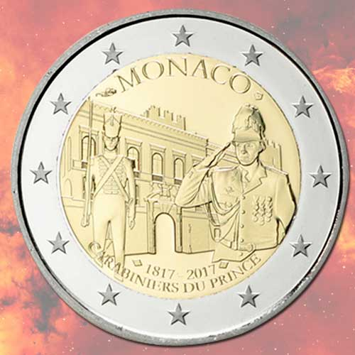 Prince's-Company-of-Carabiniers-Honoured-on-Coins-of-Monaco