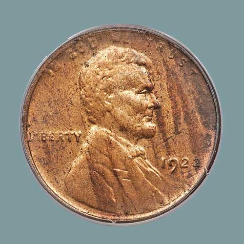 Red-1922-No-D-Lincoln-Cent,-Die-Pair-2,-Strong-Reverse