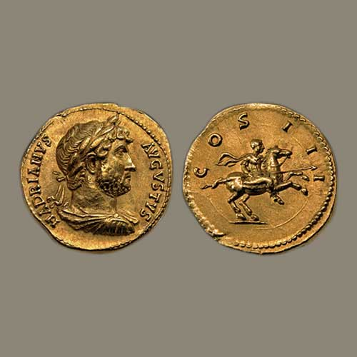 Ancient-Roman-Coins,-Depicting-Roman-Emperor-Hadrian