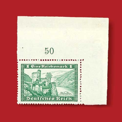 Unusual-Unissued-German-Corner-Single-to-be-Auctioned