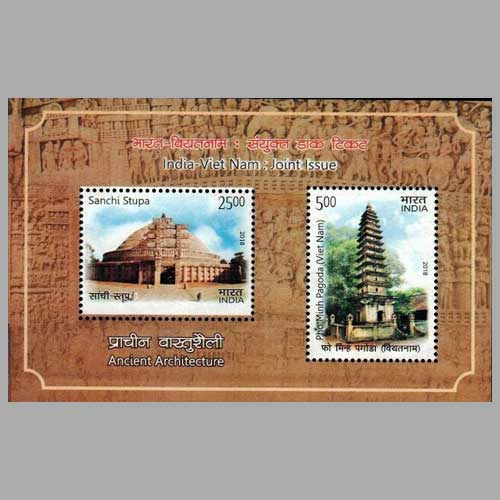 Pho-Minh-Pagoda-and-Sanchi-Stupa-on-India-Vietnam-Joint-Issue