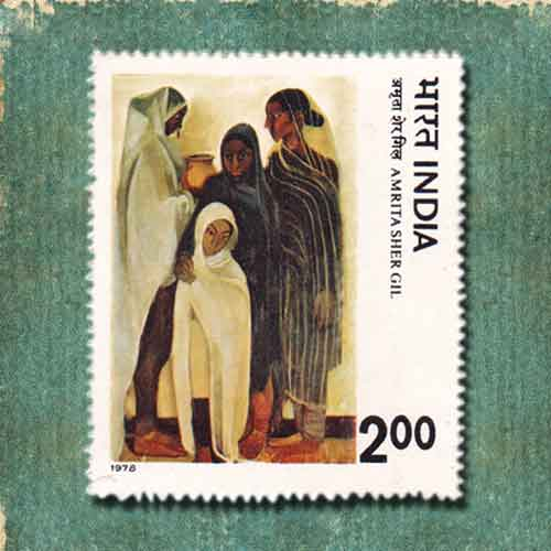 Indian-Stamp-Depicting-AMRITA-SHER-GIL's-Painting-