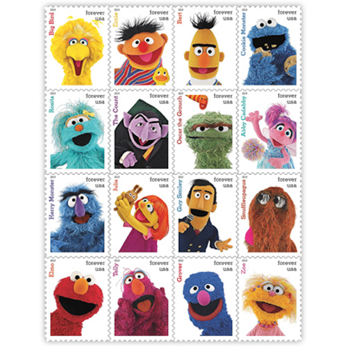 Sesame-Street,-T-Rex-and-Halloween-on-Stamps