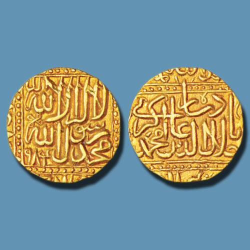 Akbar's-gold-Mohur-of-Shahr-Nahrwala-Patan-Mint
