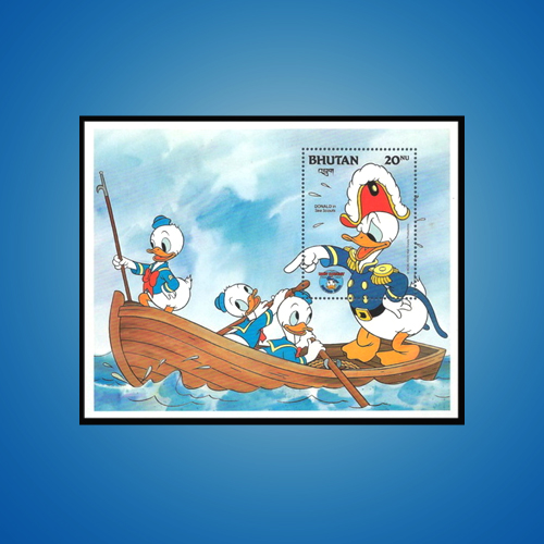 Anthropomorphic-Donald-Duck-on-Miniature-Sheet