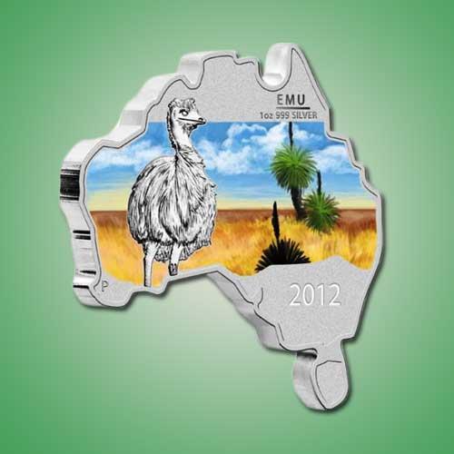 Australian-Map-Shaped-Emu-Coin