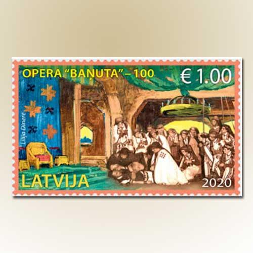 Banuta-on-Latvia-stamp