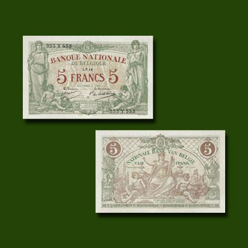 Belgium-5-Francs-banknote-of-1914-1921