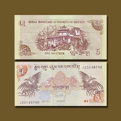 Bhutan-Five-Ngultrum-banknote-of-1985