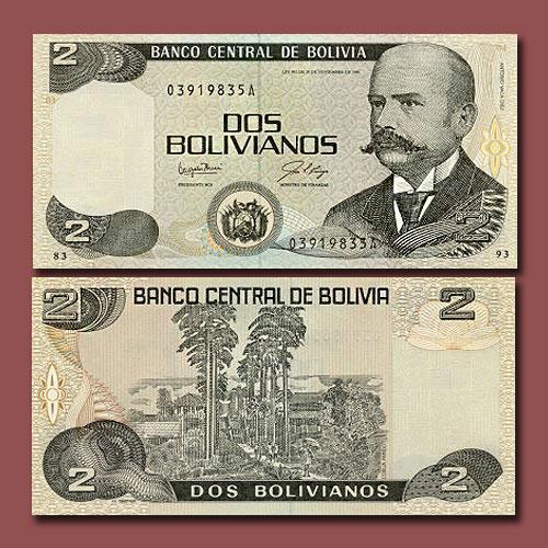 Bolivia's-2-Boliviano-banknote-of-1987