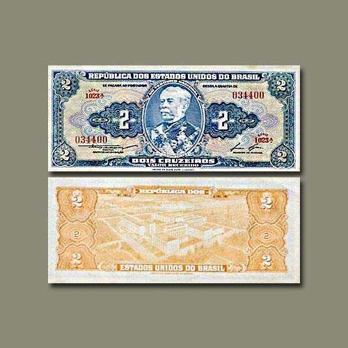 Brazil-2-Cruzeiros-banknotes-of-1954-58