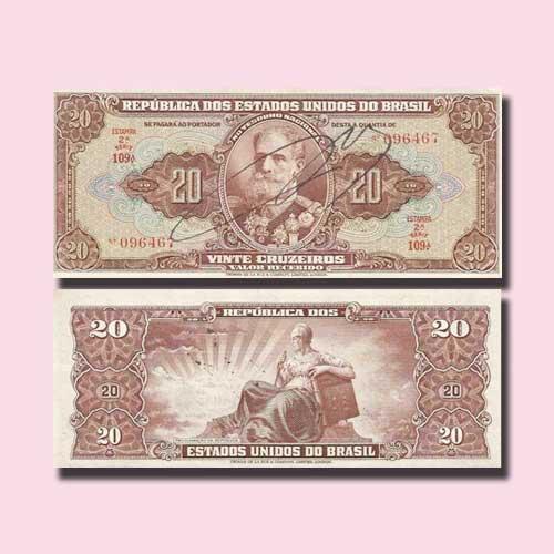 Brazil-20-Cruzeiros-banknote-of-1950