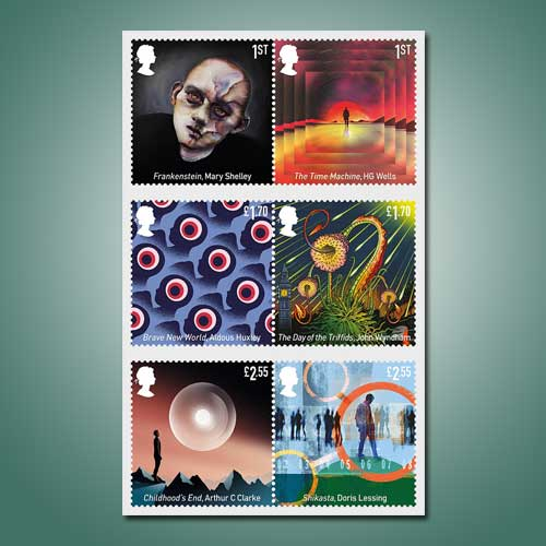 British-Stamps-Honor-Six-Classic-Science-Fiction-Novels