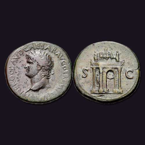 Bronze-coin-depicts-the-arch-of-Nero