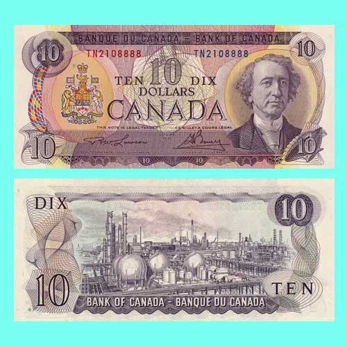 Canadian-Banknotes:-10-Dollar-Note-of-1971