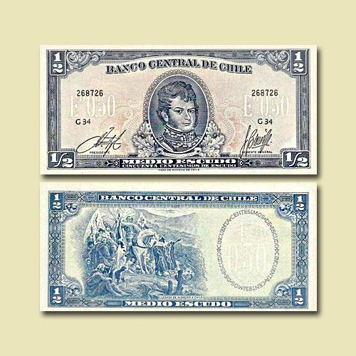 Chile-1/2-Escudo-banknote-of-1962-75