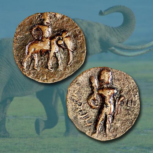Coins-of-Kushan-Dynasty--King-Huvishka