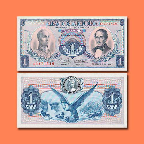 Colombia-1-Peso-Oro-banknote-of-1968