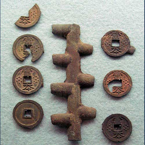 Copper-coins-are-minted-in-Japan-for-the-first-time-