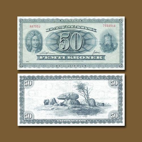Denmark-50-Kroner-banknote-of-1950-1970