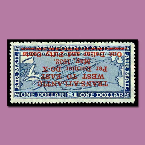 Dornier-Do-X-flight-1-dollar-inverted-surcharge-stamp