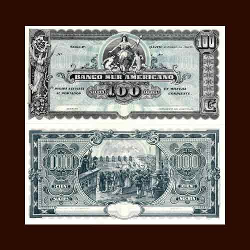 Ecuador-100-Sucres-banknote-of-1920