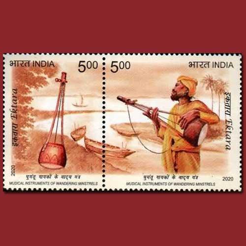 Ektara--Single-String-Indian-Folk-Musical-Instrument-on-Stamp