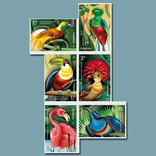 Exotic-birds-illustrated-on-stamps-by-Romfilatelia