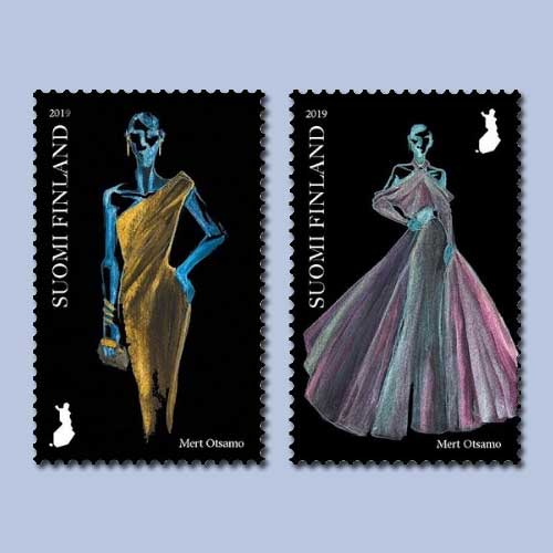 Finland-Stamps-illustrating-evening-gowns