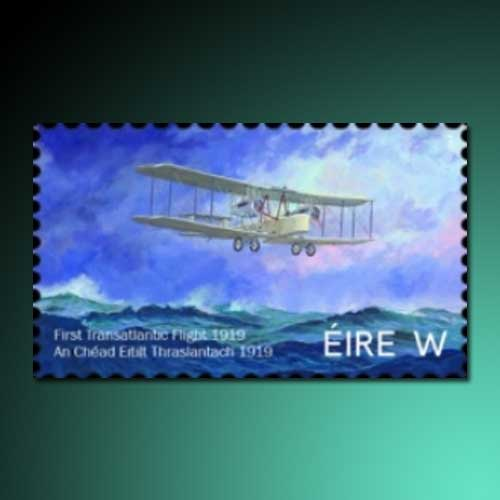 First-transatlantic-flight-on-stamp