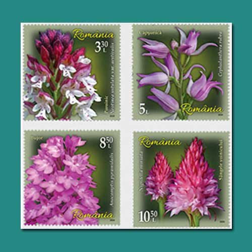 Four-stamps-orchids-presented-by-Romanian